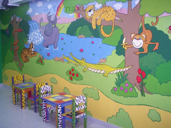 Murales infantiles pared mapamundi pintado en la pared de - Murales infantiles pintados a mano ...